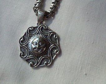 Solid Silver Sterling 925 SUN PENDANT Amulet Viking Ethnic