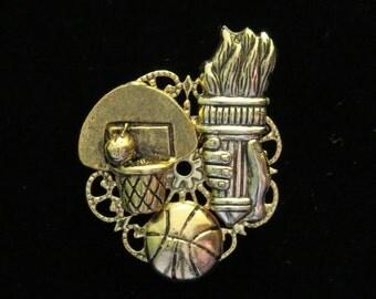 Olympian Basketball Pin 24 Karat Gold Plate Olympia Olympic Torch Sports Mascot PG196