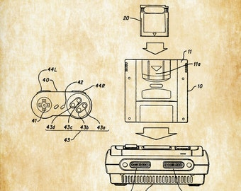 Super Nintendo Patent - Nintendo Art, Nintendo Poster,  Super NES, SNES, Nintendo Patent, Patent Print