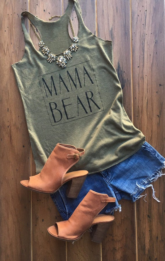 Mama Bear Tank in Military Green