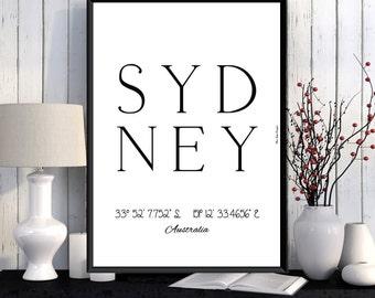 Sydney Poster, Sydney print, Wall Art decor, Sydney city print, City poster, Sydney printable, Typography print