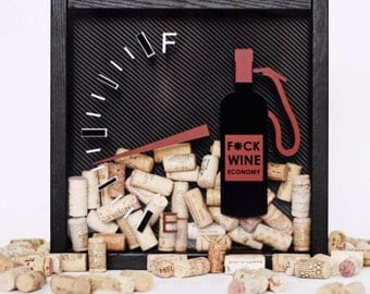 "Wine corks collector shadow box ""Fuck wine economy"" carbon, natural solid oak, black red, fuel station, gasoline"