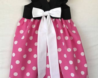 Minnie Mouse Dress, Minnie Dress, Pink Minnie Mouse Dress, Little Girls Dress, Baby Girls Dress, Flutter Sleeve Dress, Toddler Dress