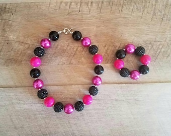 Hot Pink and Black Chunky Necklace, Bubblegum Bead Necklace, Chunky Beads, Baby Bubblegum Necklace, First Birthday, Hot Pink Black Necklace