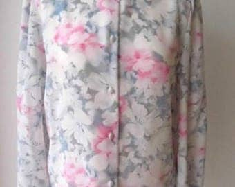 1980s floral blouse, made in UK size 12