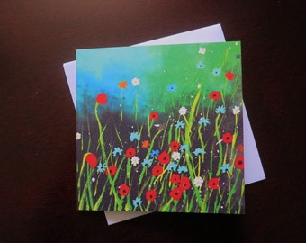 Flowers Square Blank Greetings Card