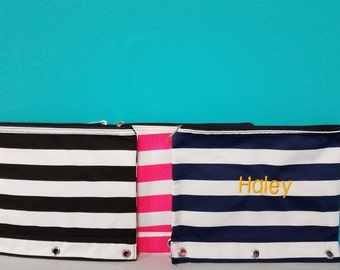 Monogrammed pencil case!  Embroidered with name or monogram on the bag.  More fonts to chose from!  See last pic on listing.  or monogram.