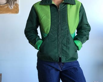Vintage sz S 70s green swing west ski jacket