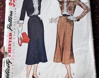 "1950's Original Vintage Sewing Pattern, Bolero Suit, Bust 36"""
