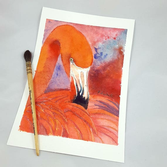 Red Flamingo, original watercolor, bird portrai, ooak, bay shower gift idea, baptism, birth, home office decoration, nursery art.