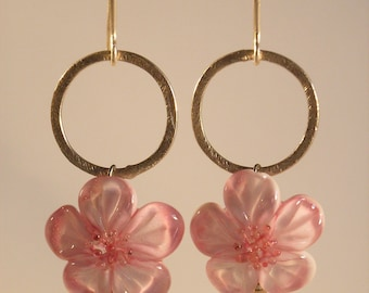 Cherry blossoms - long earrings SRA Lampwork beads beads sterling silver plated circle silversmith work spring cherry blossoms white pink