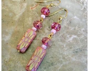 Rectangle Pink Flower Czech Bead Earrings, Pink Earrings, Dangle Earrings, Czech Bead Earrings, Beaded Earrings, Boho Earrings