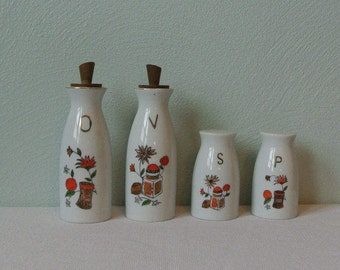 Mid Century Ceramic Condiment Set