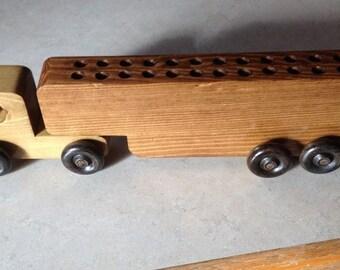 wooden crayon holder semi truck