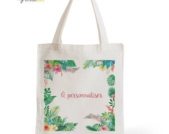 Tote Bag Tropical personalized, romantic gift for her wedding, gift of Valentine's day for him, typography, statement, quote