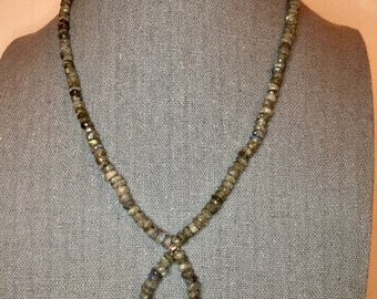 Labradorite and Sterling Silver Loop Necklace 18.5""
