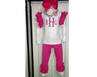Boutique Girls - Baby Icing Ruffle Outfit Pink with Name