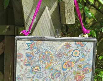 Abstract Flower Print ~ Framed Doodle Art ~ Flower Art ~ Zentangle Design ~Hanging Wall Art ~ Printed on Handmade Paper ~ Frame 4 x 6 inches