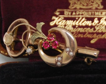 Victorian 10k Rose Gold Key, Crescent Moon, Trefoils Ruby and Seed Pearl Brooch