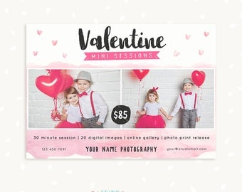 Valentine Mini Session Template, Valentine Marketing Board, Photoshop Template, Photography Marketing Set, Kit, PSD template, Flyer, Photo