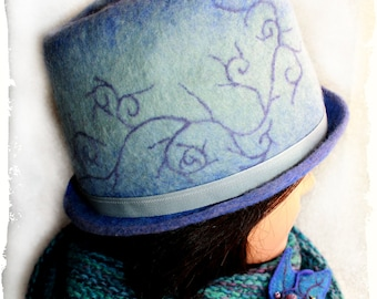 Felted wool hats, Felt hat for women,Womens winter hats, Gray hat with violet fields, Unique handmade