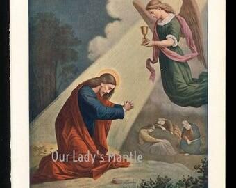 1906 Color Print - Jesus on the Mount of Olives