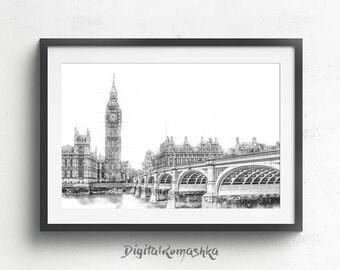 London Skyline, London Print, London Large Poster, London Wall Art, London Cityscape, London Skyline Print, London Landscape London Wall Art