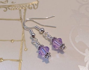Crystal Earrings, Silver plated, Drop Earrings, Lilac Swarovski Crystal, Birthdays, Bridal Drop Earrings