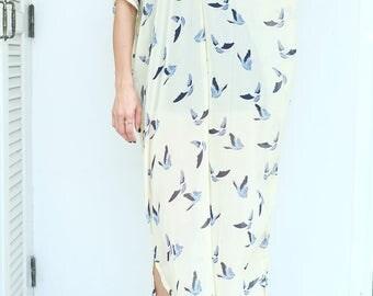 Yellow Bird Pattern Chiffon Beach Dress Swimsuit Bikini Cover Up | Casual Maxi Short Sleeve Dress | Spring/Summer Dress