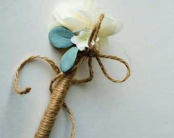 Ivory, Cream w/ Blue Accents Rustic Wedding Jute-wrapped Guest Book Handmade Flower Pen, Ballpoint, Black Ink, Journal Pen  ITEM