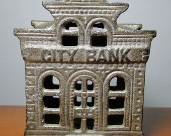 "Cast Iron Bank City Bank W/ Directors Room At Top - Made By John Harper Ltd In 1902 Chamberlain & Hill England 4 1/8"" X 3 3/8"" X 2 7/8"""