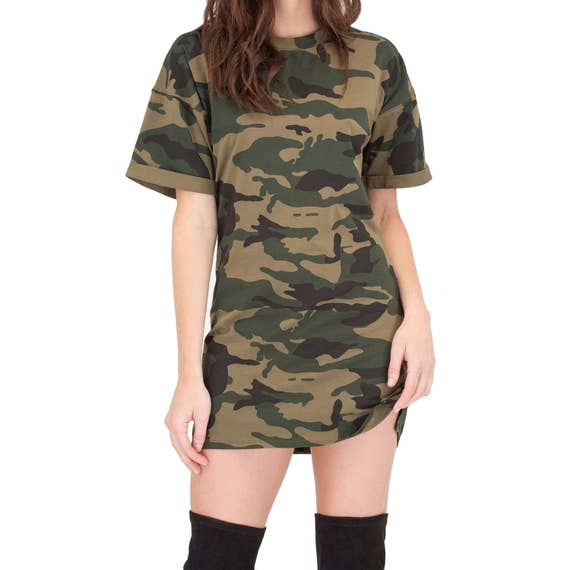 Camouflage womens oversized t shirt dress camo print mens fit for Camo print t shirt