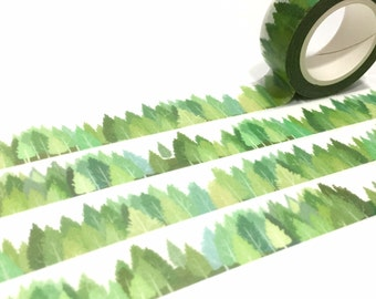 green tree washi tape 10M Green hills forest tree Masking tape Green tree scenes green tape green world landscape green sticker tape decor
