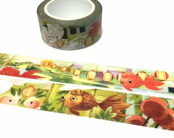 abstract animal washi tape 10m cute creature fantasy fish world bamboo rainforest landscape abstract scene decor odd masking tape gift