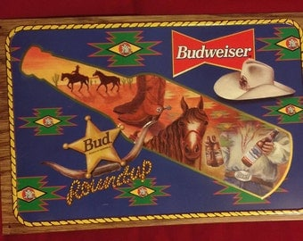 Vintage Budweiser Beer Sign/Bud Cowboy Roundup/1996/Metal Beer Advertising Sign/Fathers Day