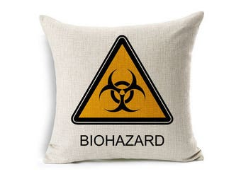 Biohazard symbol on a decorative pillow best gift for all occasions....