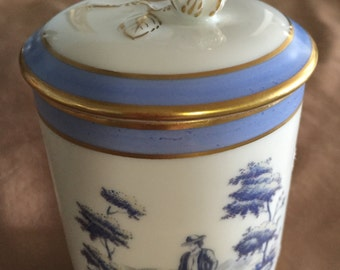 Richard Ginori Blue & White Covered Tea Cup/Trinket Dish with 2 Hand Painted Cameos, Italy