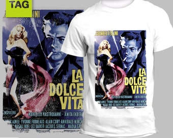 T-shirt La Dolce Vita Federico Fellini italian movie film cinema tees tshirt