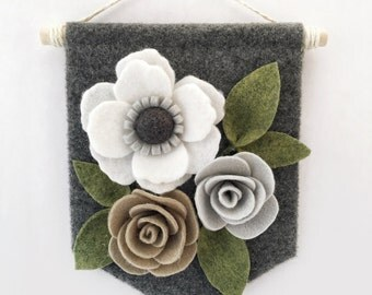 "Mini Felt Floral Banner | ""Neutrals"" 