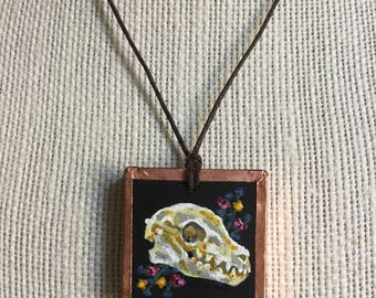 Handmade pendant necklace, Skull statement necklace, Handmade jewelry, Copper jewelry, Painted pendant, Personalized necklace