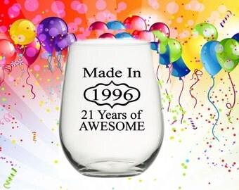 21st Birthday Gift, Birthday Wine Glass, 21st Birthday for Her, 21st Birthday for Him, Woman's 21st Birthday Gift, 1996 Birthday Gift