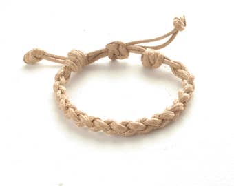 Braided Knot Bracelet - Waxed Cord Bracelet - His Her Cotton Bracelet, Macrame Bracelet, Men Women