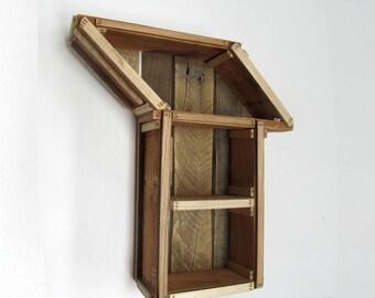 Beautiful Wood Cabinet, Decorative Shelf, Geometric Shelves, Reclaimed Wood Shelf,  Wall Cabinet,