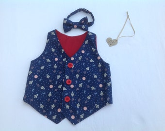 Boys Waistcoat, Bow Tie, boys vest,  boys outfit, baby outfit, neck tie, boys clothing, rockets, space, occasion,  6 months to 5 years