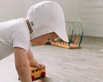Boy Sun Cap White Linen- Baby bonnet, baby sun hat, modern bonnet, baby hat, baby shower, baby boy bonnet, sunbonnet