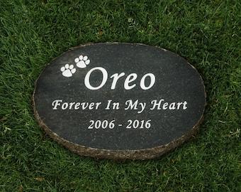 "12"" x 8"" Granite Oval Pet Memorial Stone - Free Shipping"