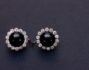 Sterling silver black gem cluster screw back earrings Made in USSR