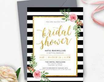 Floral Bridal Shower Invitation Printable / Floral Bridal Shower Printable / Rustic Wedding Shower / Floral Wedding