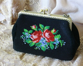 Black vintage purse with beading embroidery