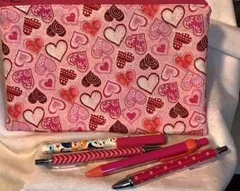 Valentines Pen/Pencil Pouch... Make Up Bag... Toiletry Bag